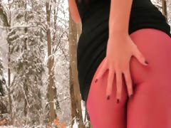 Red nylon pantyhose in...
