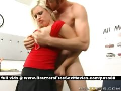 Horny blonde slut gets a...